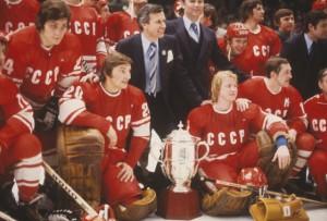 L'équipe soviétique après sa victoire face aux All-Stars NHL en 1979